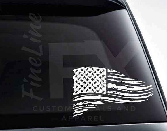 Distressed American Flag Vinyl Decal - FineLineFX