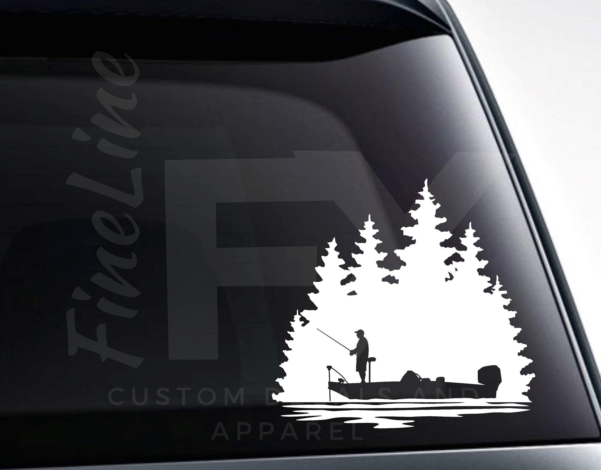 Bass Fishing Bass Boat Fisherman Vinyl Decal Sticker