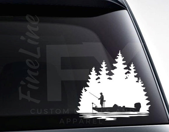 Bass Fishing Bass Boat Fisherman Vinyl Decal Sticker - FineLineFX