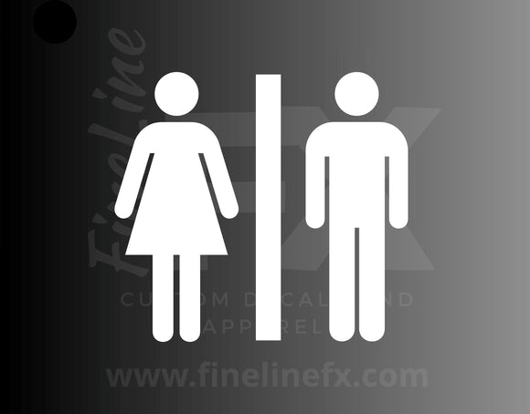 Restroom Sign, Bathroom Sign Vinyl Decal Sticker / More Colors / Public Restroom Mens Womens Bathroom Symbol Decal - FineLineFX