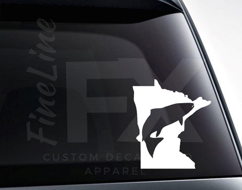 Minnesota Fishing Decal, Minnesota Fish Vinyl Decal Sticker