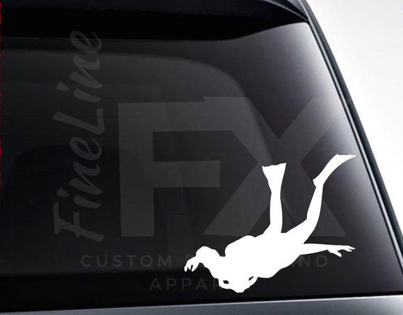 Scuba Diver Scuba Diving Silhouette Vinyl Decal Sticker - FineLineFX