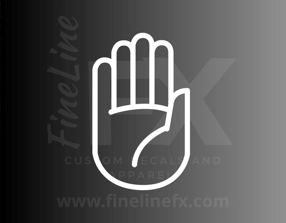 Stop Hand Sign Die Cut Vinyl Decal Sticker - FineLineFX