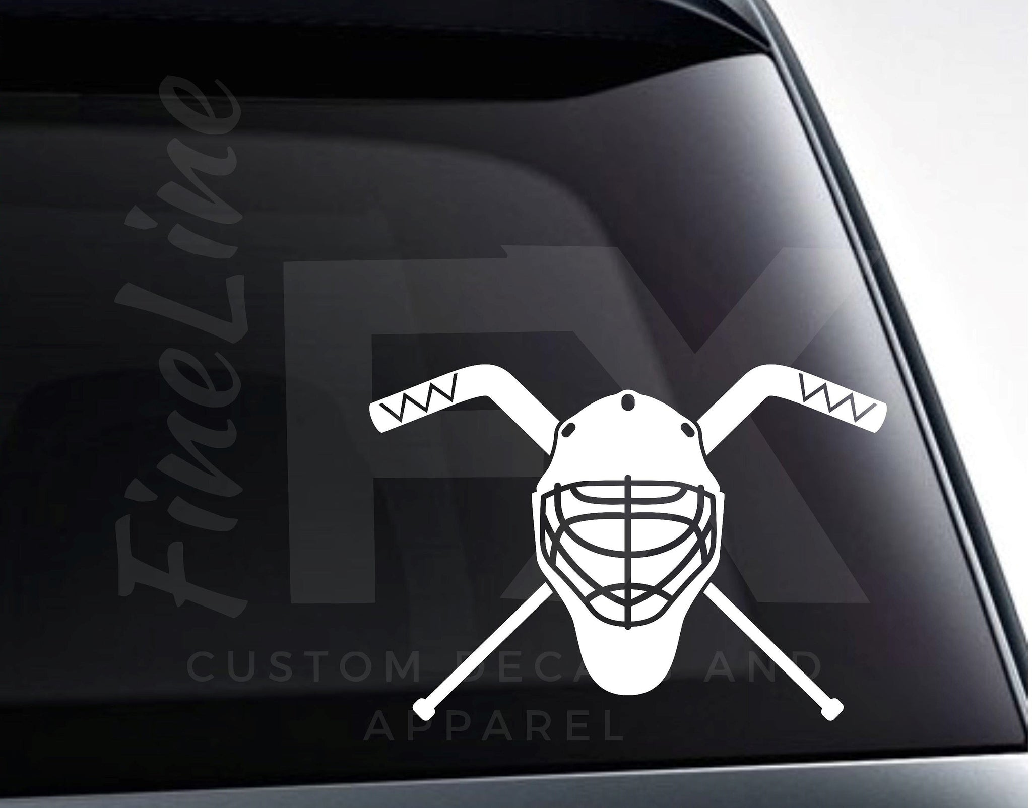 Goalie Mask And Crossed Hockey Sticks Vinyl Decal Sticker