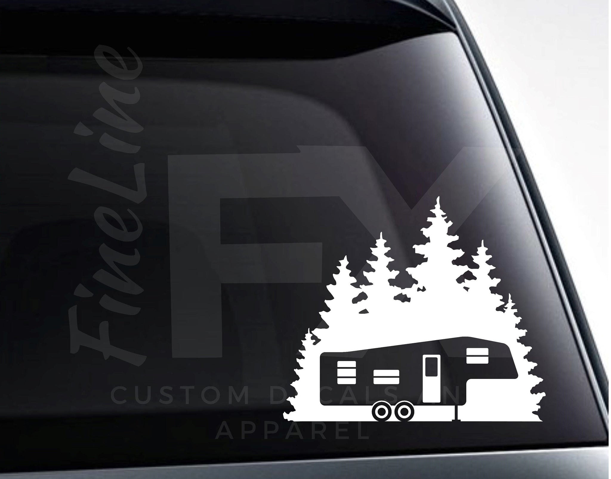 Fifth Wheel Camper Forest Woods Camping Vinyl Decal Sticker