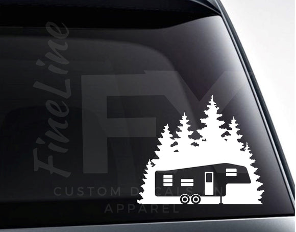 Fifth Wheel Camper Forest Woods Camping Vinyl Decal Sticker - FineLineFX