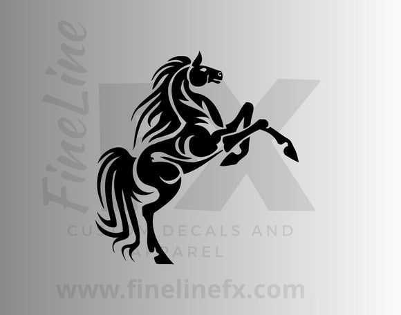 Tribal Horse Decal, Standing Horse Fancy Flourish Design Vinyl Decal Sticker - FineLineFX