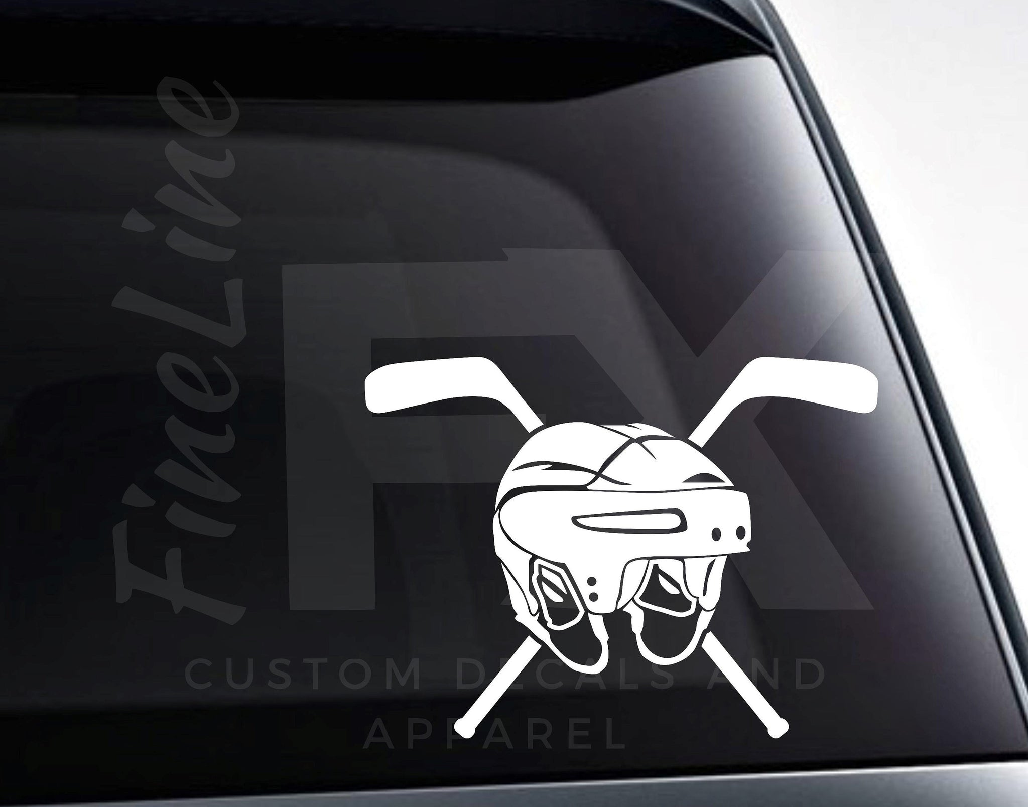 Ice Hockey Helmet And Crossed Hockey Sticks Vinyl Decal Sticker