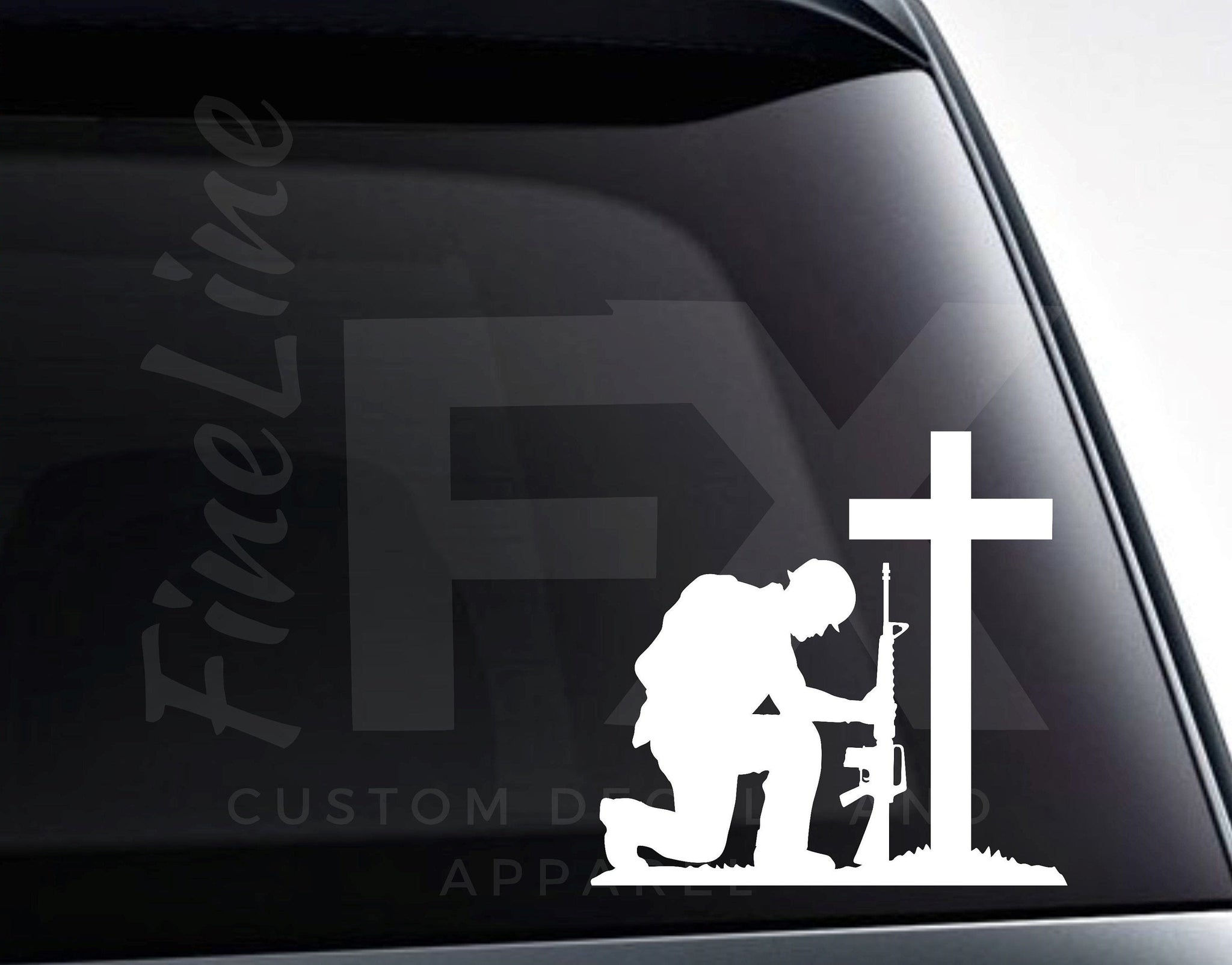Soldier With Rifle Kneeling In Front Of Cross Memorial Vinyl Decal Sticker