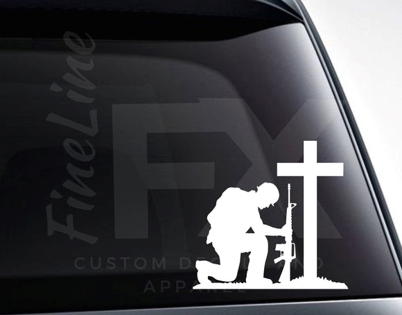 Soldier With Rifle Kneeling In Front Of Cross Memorial Vinyl Decal Sticker - FineLineFX