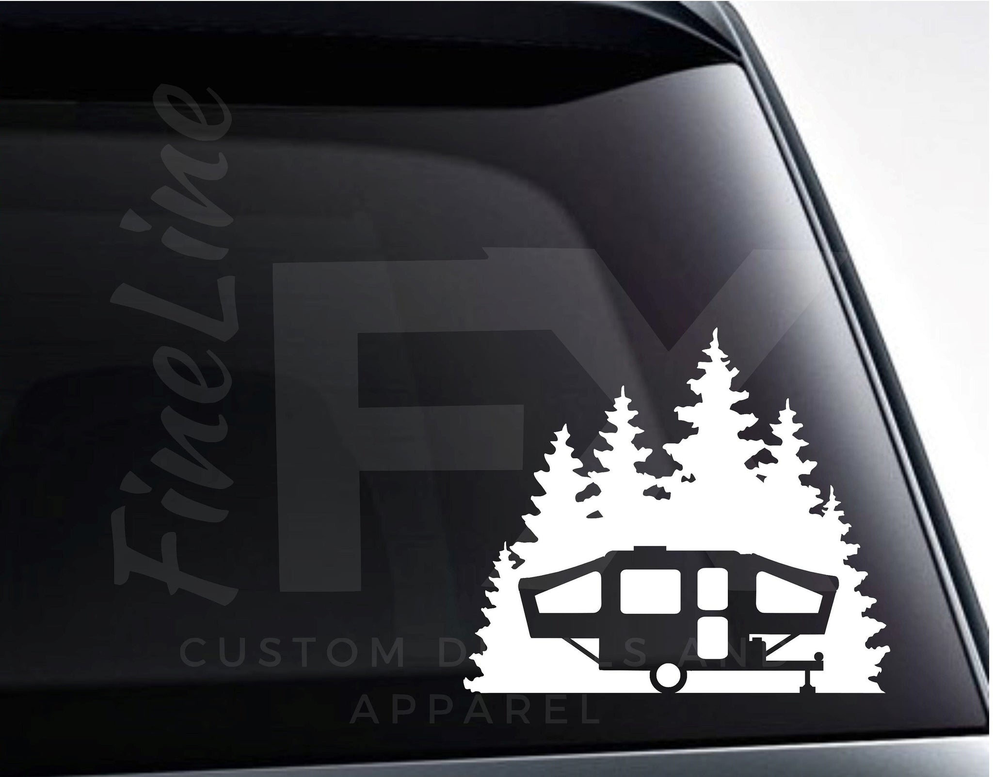 Pop Up Camper Forest Woods Camping Vinyl Decal Sticker