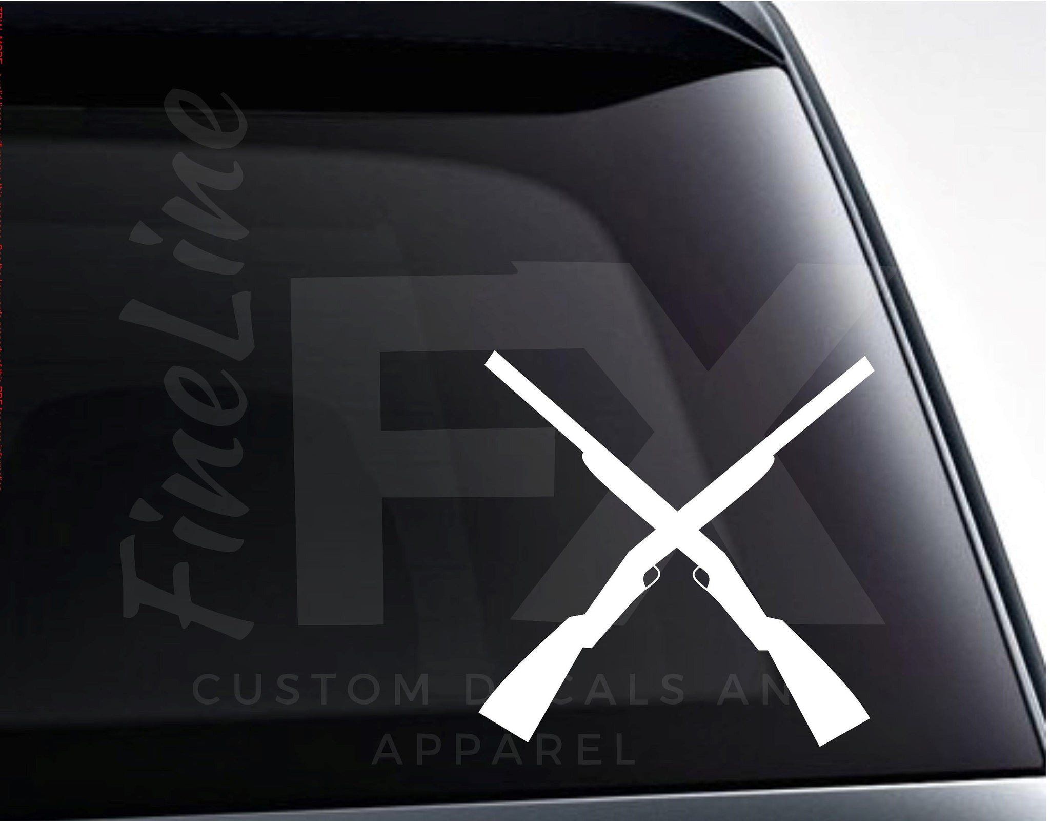 Crossed Shotguns Hunting Rifles Vinyl Decal Sticker