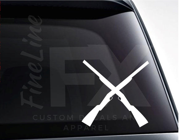 Crossed Shotguns Hunting Rifles Vinyl Decal Sticker - FineLineFX