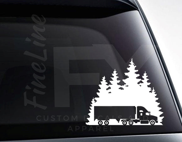 Semi Truck Highway Truck Driving Vinyl Decal Sticker - FineLineFX