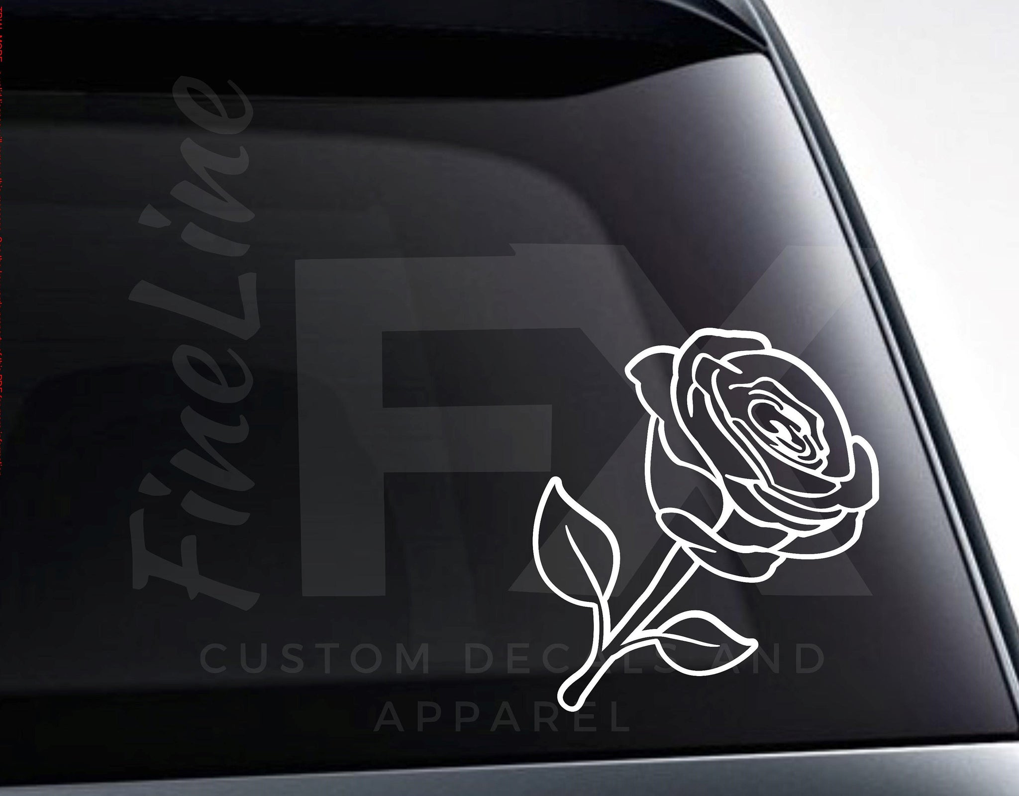 Rose Outline, Flower Rose Petals Die Cut Vinyl Decal Sticker