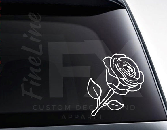 Rose Outline, Flower Rose Petals Die Cut Vinyl Decal Sticker - FineLineFX