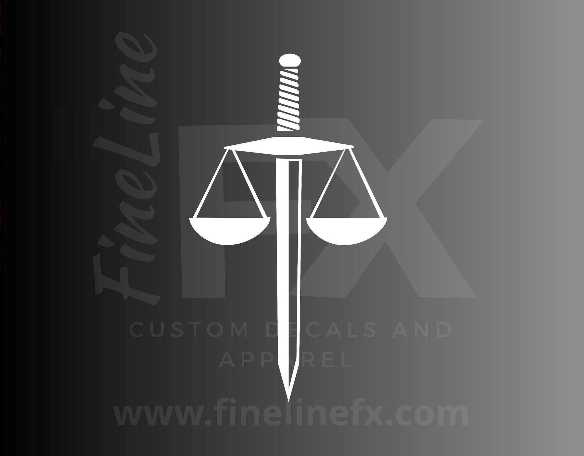 Sword Law Scales of Justice Vinyl Decal Sticker