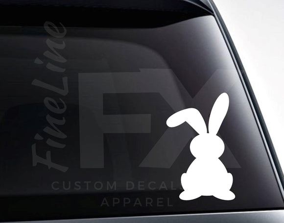 Easter Bunny With Floppy Ear Vinyl Decal Sticker - FineLineFX