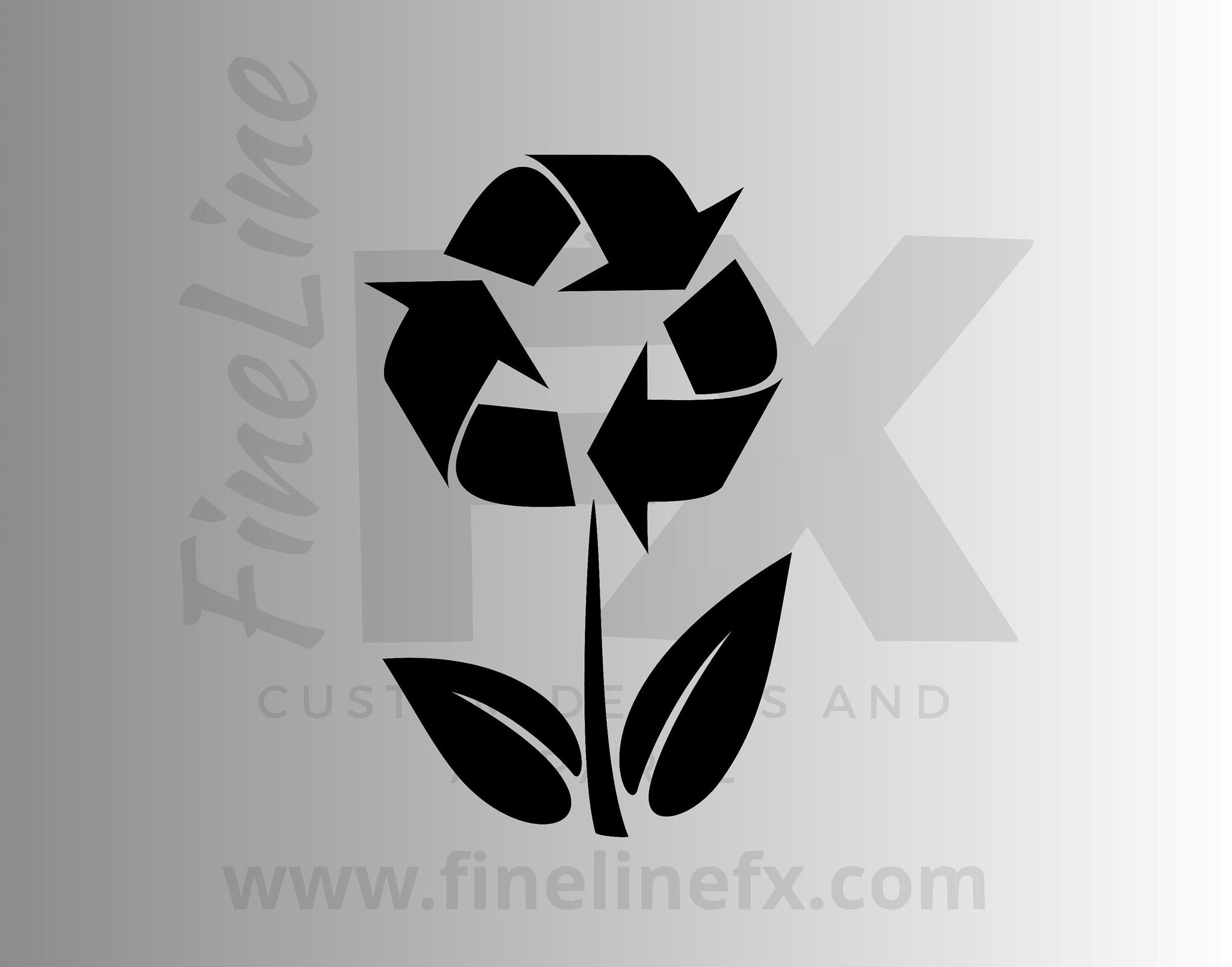 Recycling Symbol Flower, Recycle Bin Vinyl Decal Sticker