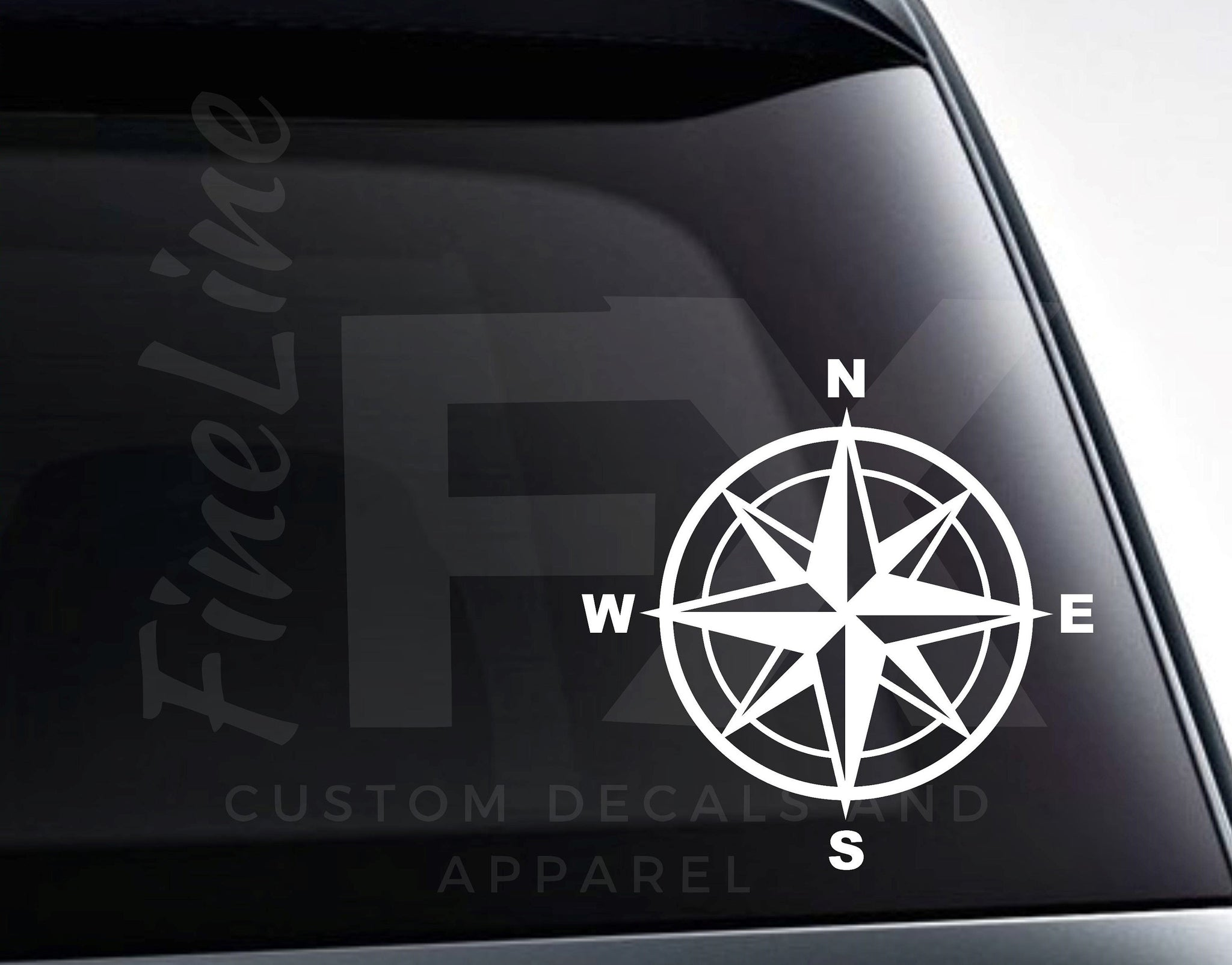 Compass Rose Travel Adventure Nautical Vinyl Decal Sticker