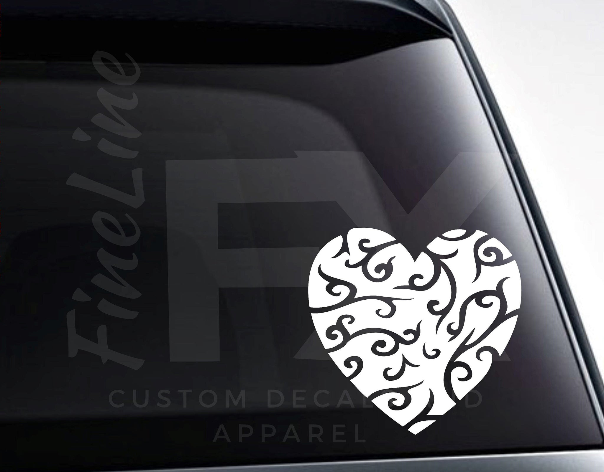 Fancy Heart With Flourishes Vinyl Decal Sticker