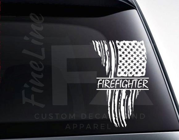 Patriotic Firefighter Fireman Distressed American Flag Vinyl Decal Sticker - FineLineFX