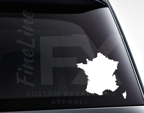 France Country Shape Map Vinyl Decal Sticker - FineLineFX