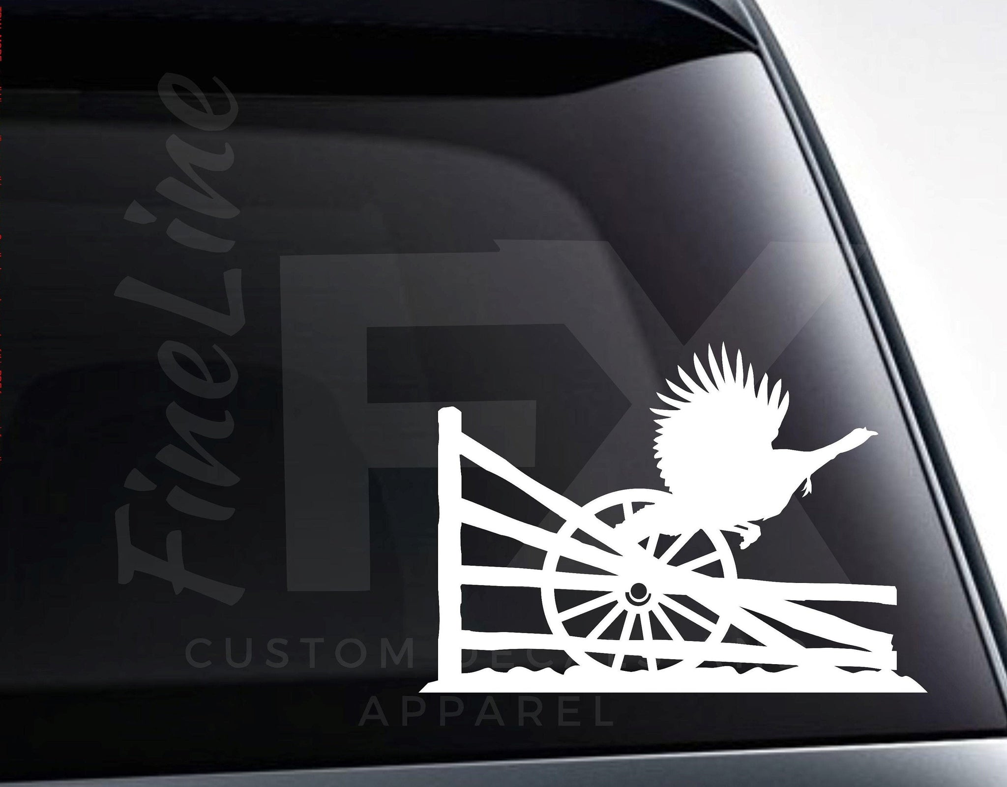 Turkey With Wagon Wheel And Wooden Fence Country Scene Vinyl Decal Sticker