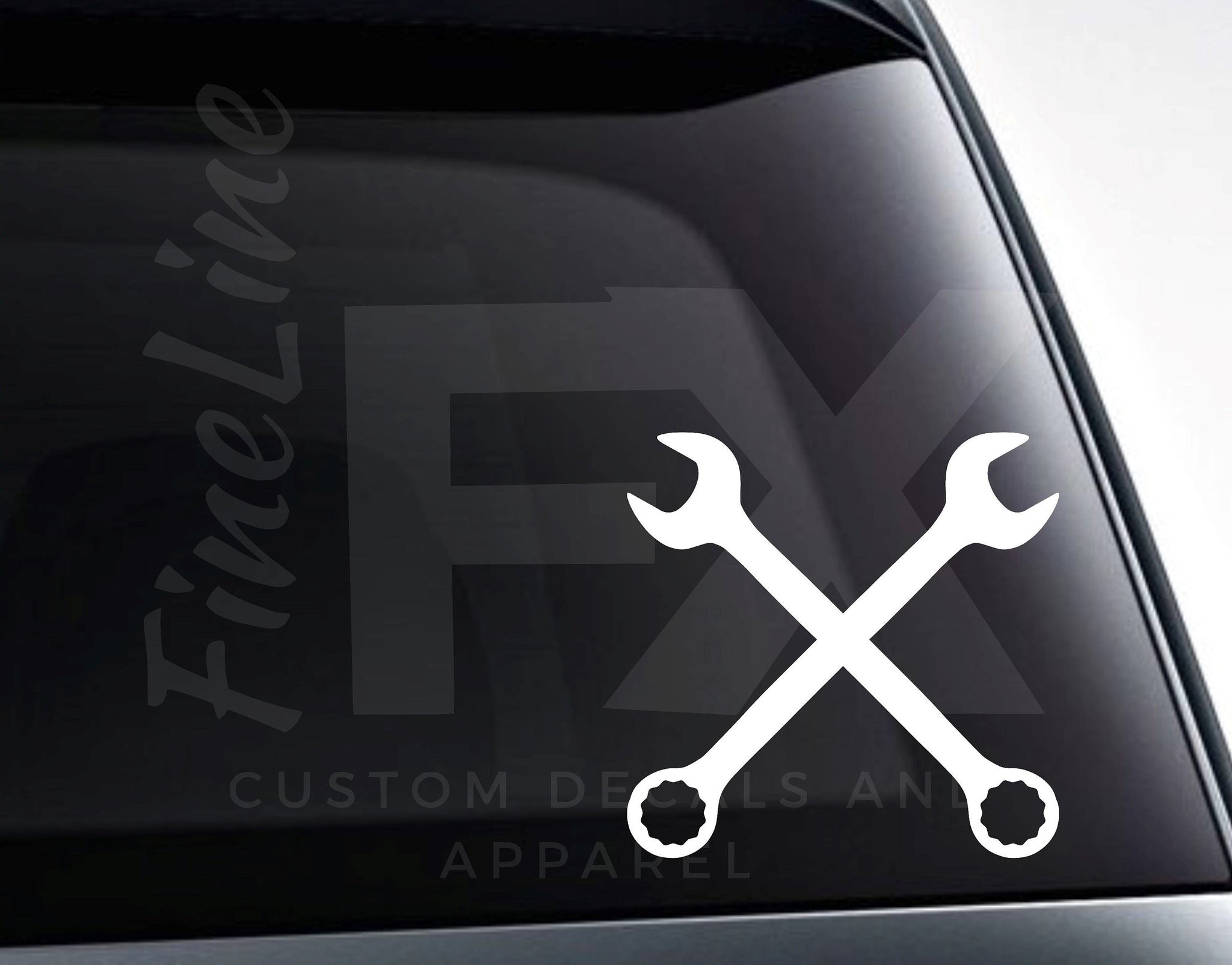 Crossed Wrenches Mechanic Garage Vinyl Decal Sticker