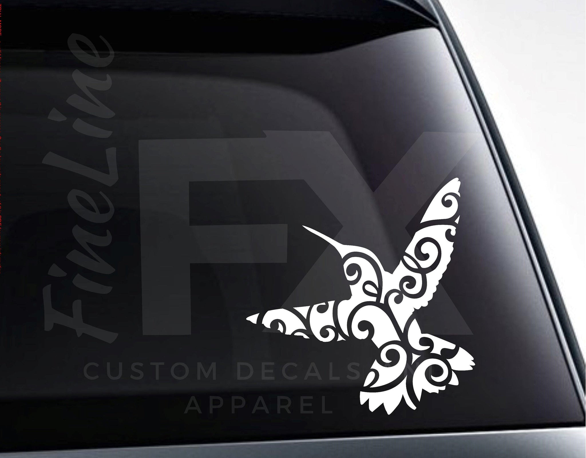 Hummingbird With Fancy Flourish Pattern Vinyl Decal Sticker