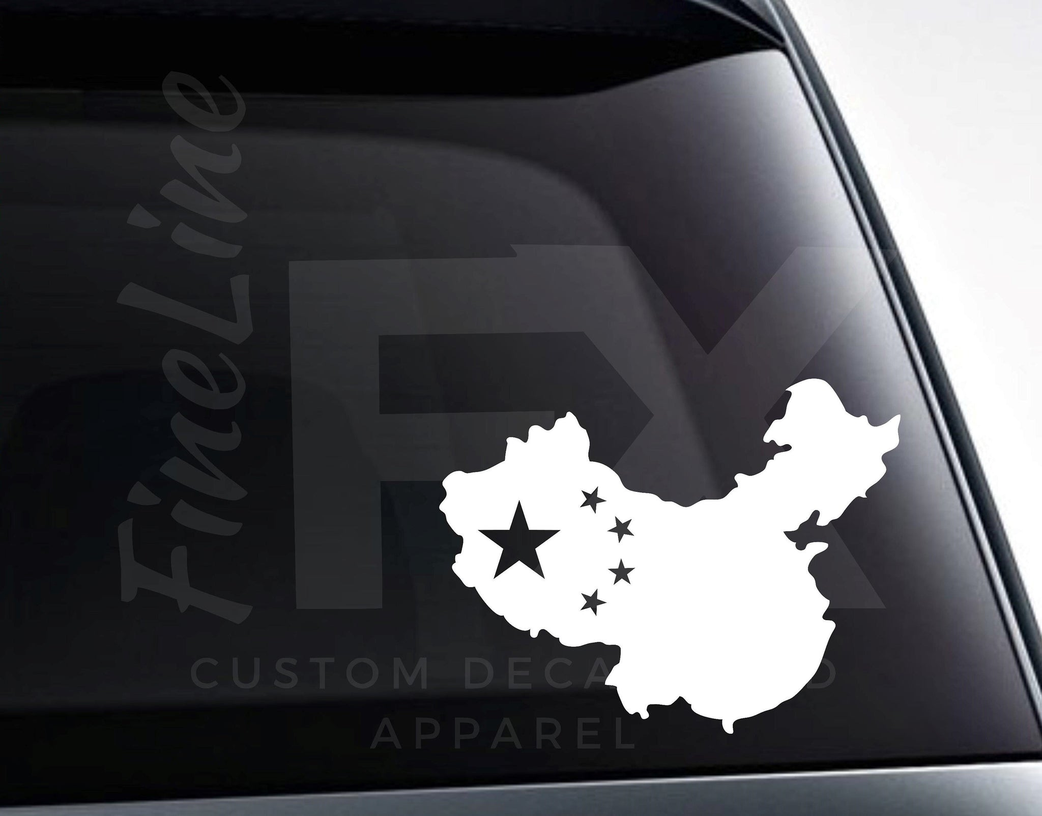 Chinese Flag China Map Vinyl Decal Sticker