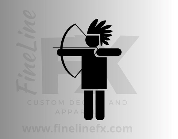 Native American Indian Archer Bow And Arrow Vinyl Decal Sticker - FineLineFX