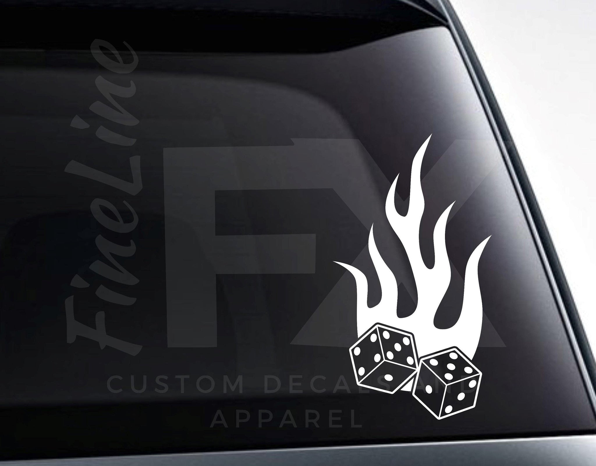 Dice With Flames Lucky Gambling Vinyl Decal Sticker