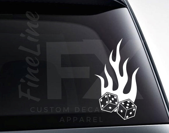Dice With Flames Lucky Gambling Vinyl Decal Sticker - FineLineFX