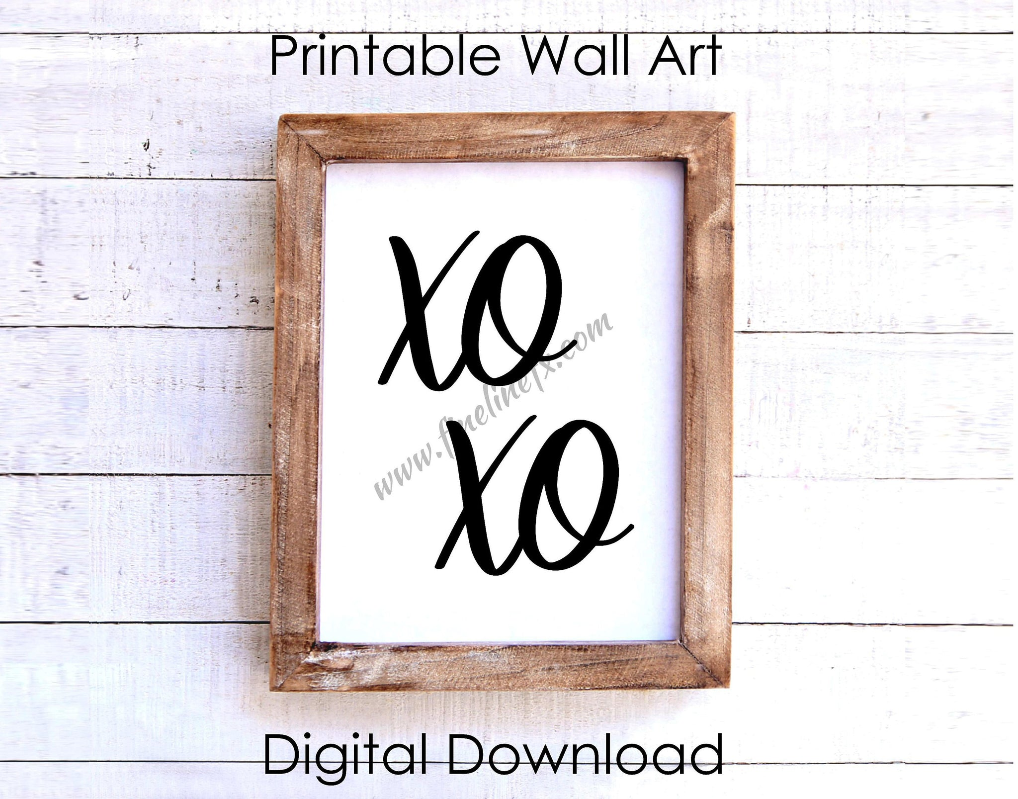 XOXO Hugs And Kisses Script Font 8 x 10 Printable Wall Art Download