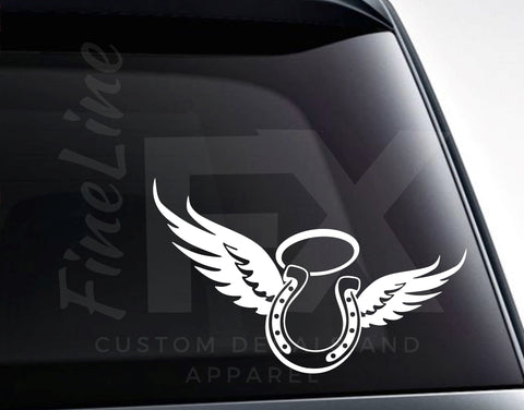 Horseshoe Angel Wings and Halo Vinyl Decal Sticker