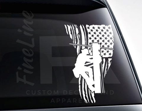 Electric Lineman Distressed American Flag Die Cut Vinyl Decal Sticker