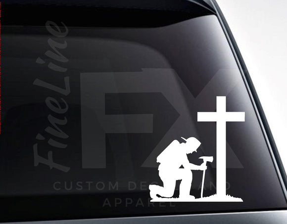 Fireman Kneeling Firefighter Memorial Cross Vinyl Decal Sticker - FineLineFX