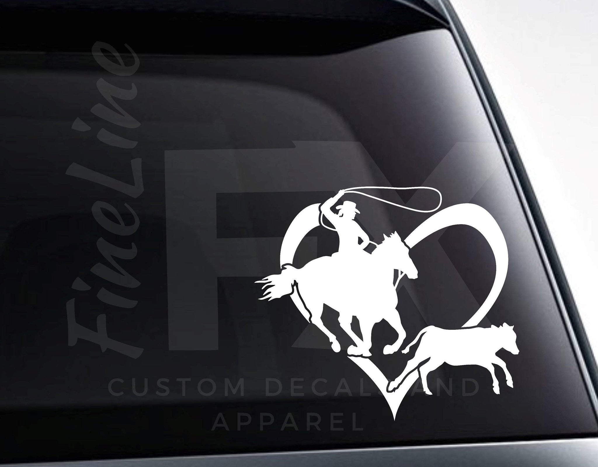 Rodeo Calf Roping Heart, Love Rodeo Vinyl Decal Sticker