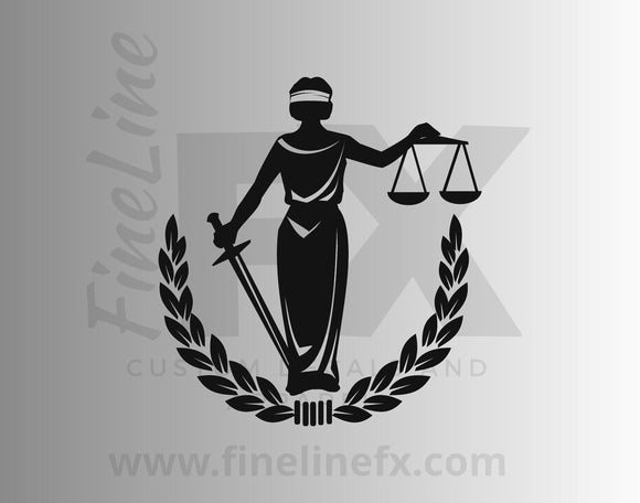 Blind Lady Justice With Law Scales And Sword Vinyl Decal Sticker - FineLineFX