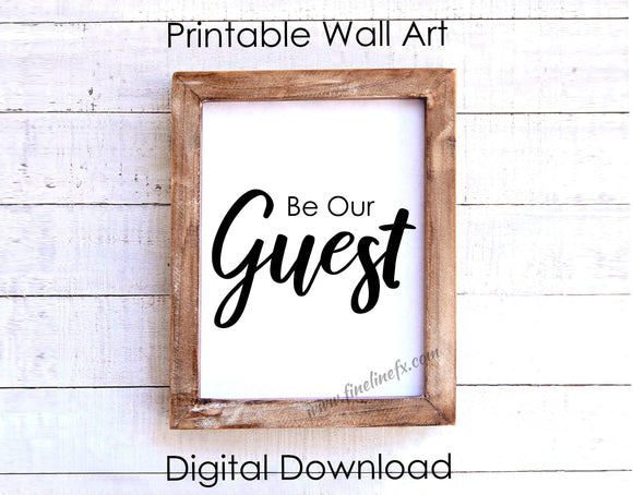 Be Our Guest Printable Wall Hanging, Front Counter 8 x 10 Print Instant Digital Download - FineLineFX