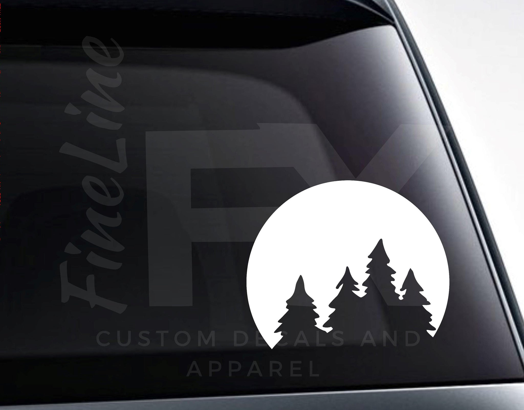 Pine Trees Outdoors Nature Scene Moon Vinyl Decal Sticker