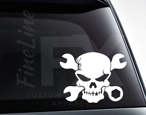 Mechanic Skull With Crossed Wrenches Vinyl Decal Sticker