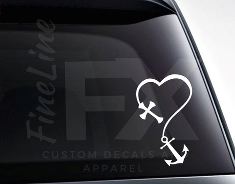 Cross And Anchor Heart Vinyl Decal Sticker