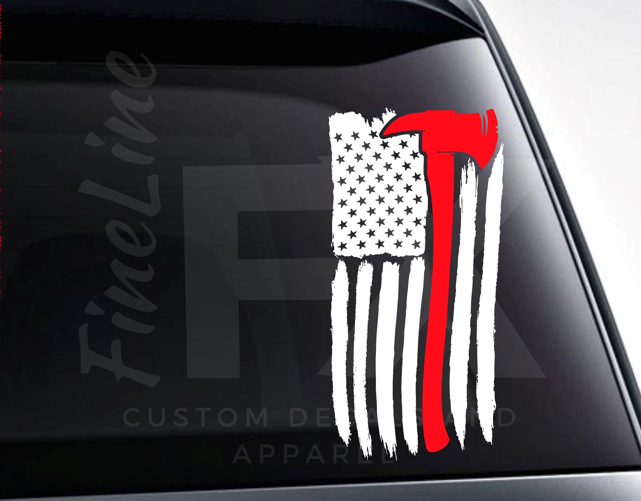 Fireman Axe American Flag Vinyl Decal Sticker | Car Decal, Car Sticker | Multiple Sizes And Colors