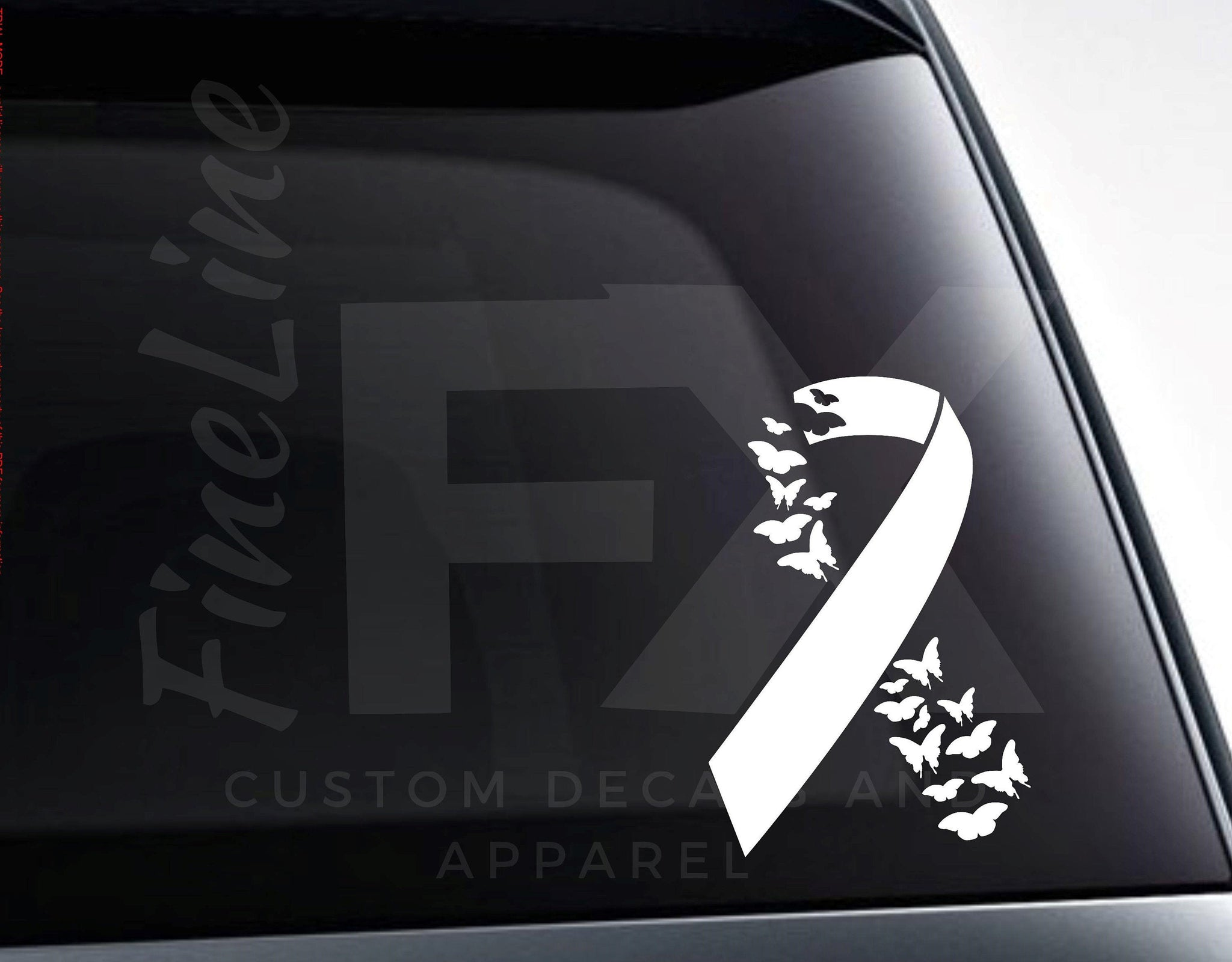 Cancer Ribbon With Butterflies Vinyl Decal Sticker