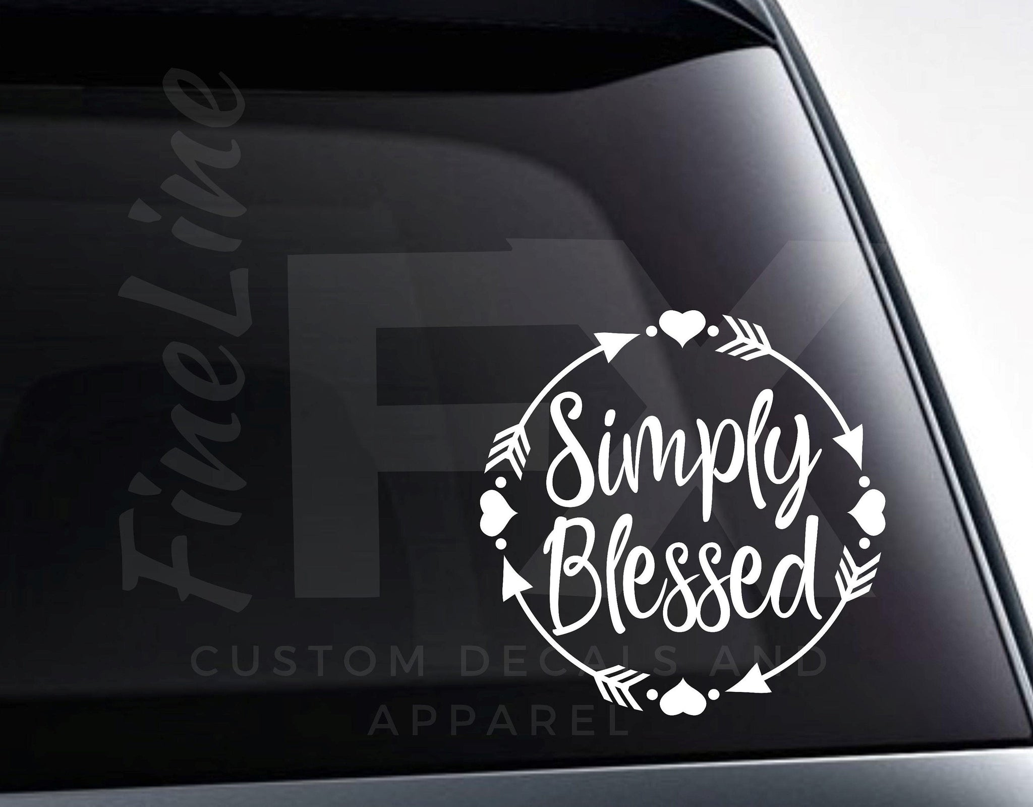 Simply Blessed Hearts And Arrows Vinyl Decal Sticker