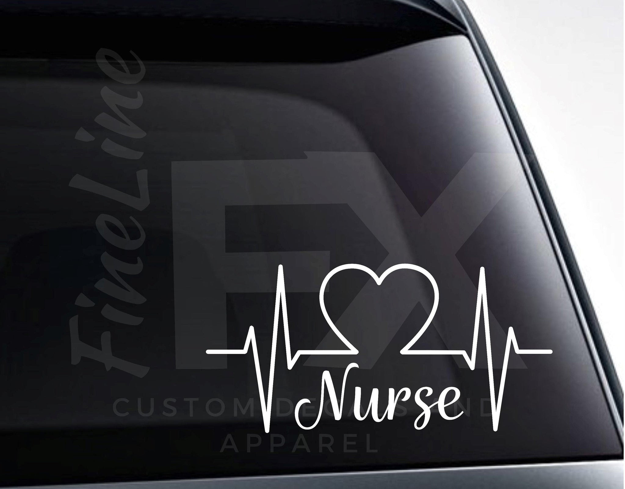 Nurse Heart Nurse Medical EKG Heartbeat Vinyl Decal Sticker