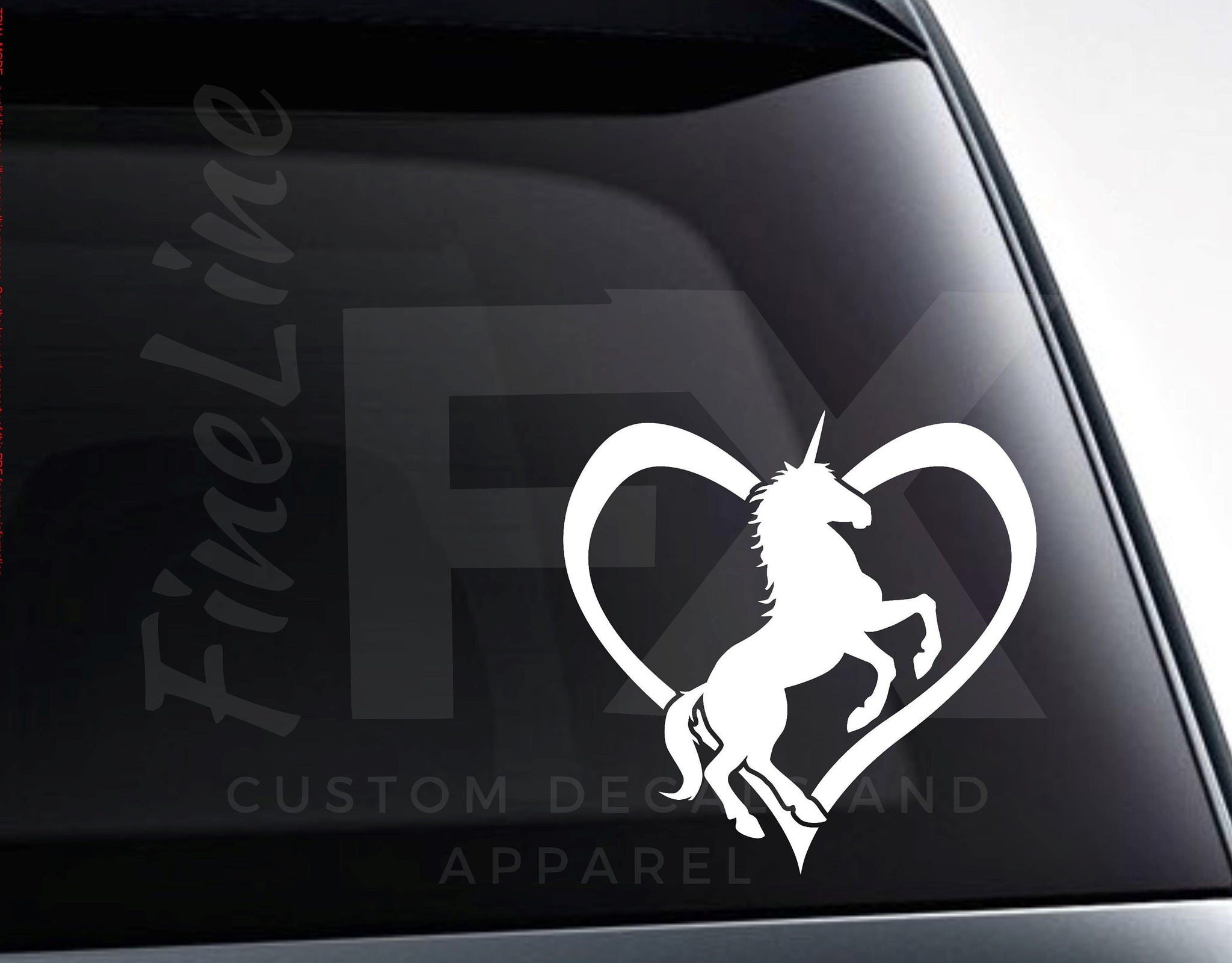 Unicorn Heart Love Unicorns Vinyl Decal Sticker