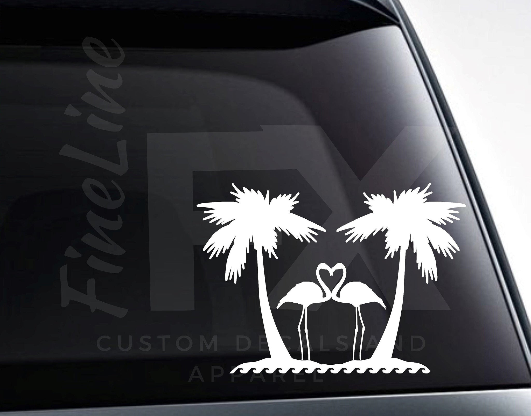 Flamingo Heart Palm Trees Beach Vinyl Decal Sticker